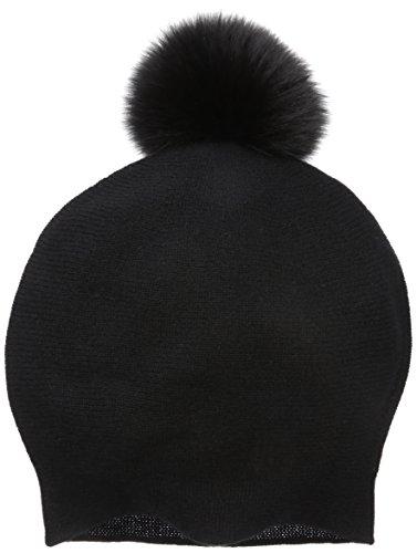 La Fiorentina Women's Cashmere Blend Slouchy Beanie With Fur Pom, Black, One Size by La Fiorentina