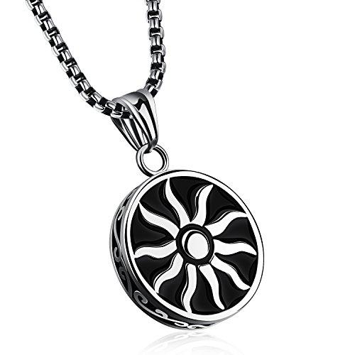 Mens Stainless Steel Faith Sun God Apollo Pendant Necklace High Polish Silver Tone (Hades Symbol Necklace)