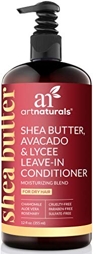 ArtNaturals Shea Butter Leave-In Conditioner - (12 FL Oz / 355 ml) - Shea Butter, Avocado and Lychee - Repair Dry and Damaged Hair - Moisturizing and Restorative - All Types of Hair - Sulfate Free