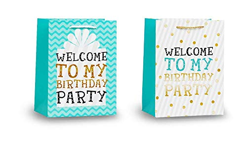 UNIQOOO 12Pcs Premium Welcome to My Birthday Assorted Gift Bag, Tiffany Blue & Gold Thick Recyclable 9