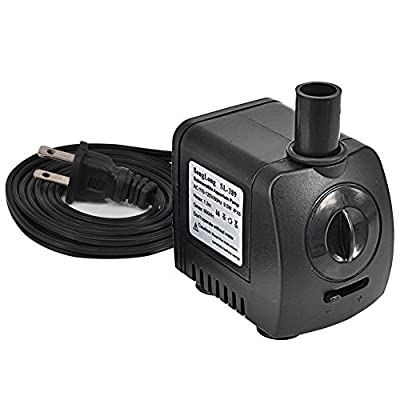 Submersible Water Pump Aquarium Fountain Pump for Fish Tank Pond Yard Fountain Water Gardens with 2 Nozzles, 9.5W 210GPH(600L/H)