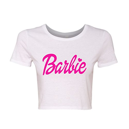 Barbie White Crop T-Shirt with Barbie Pink Lettering and a Heart