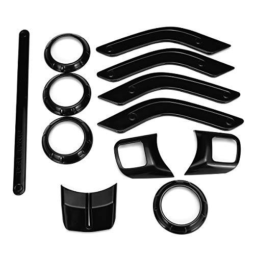 Hitommy 12pcs Car ABS Interior Decorative Trim Kit Moulding Trim Strip for Jeep Wrangler Cab 4Door 11-17 - -