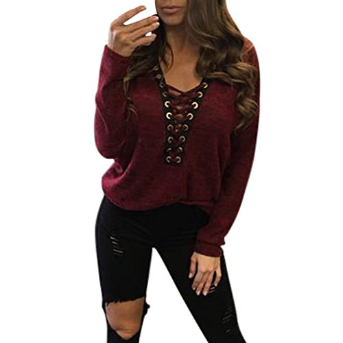 Lisingtool Women's Stripes Stitching Long-sleeved Shirt Tops Blouse (M, Wine Red)