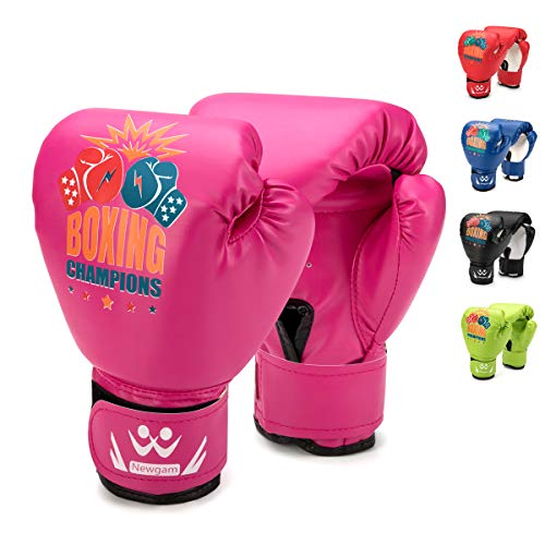 Newgam Kids Boxing Gloves, Children Junior Sparring Kickboxing Training Gloves,Junior Punch Bag MMA Training Muay Thai Mitts - PU Leather - 5oz for 3 to 14 YR (Pink2)