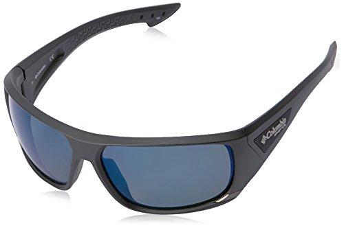Columbia Men's Arbor Peak Polarized Wrap Sunglasses, Matte Black/Blue, 66 - Black Columbia Lens