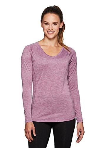 RBX Active Women's Long Sleeve Space Dye V-Neck Running Tee Shirt Mauve - Women's Running Shirt