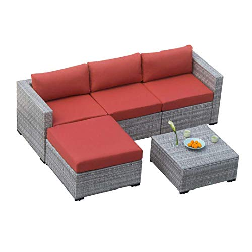 (Auro Outdoor Furniture Sectional Sofa Conversation Set (5-Piece Set) All-Weather Gray Wicker Seating with Water Resistant Orange Olefin Cushions | Patio, Backyard, Pool | Incl. Waterproof)