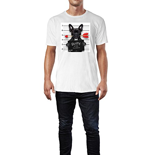 SINUS ART ® Bulldoge mit Liebespfeil – Guilty For Love Herren T-Shirts in Weiss Fun Shirt mit tollen Aufdruck