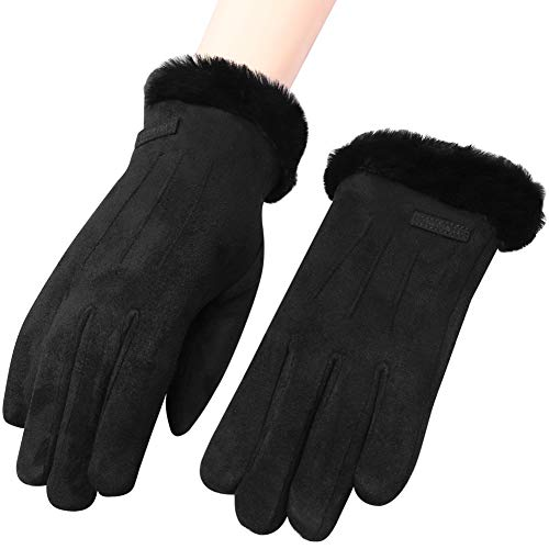 Caseeto 手袋 レディース てぶくろ グローブ 女性用 通勤 通学 裏起毛 フワフワ 暖かい 防寒 スマホ タッチパネル対応 冬 秋 かわいい クリスマス 誕生日 プレゼント