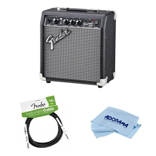 Fender Frontman 10G Guitar Amplifier with 6'' Speaker - Bundle With Performance Series 10' Instrument Cable, Microfiber Cleaning Cloth by Fender