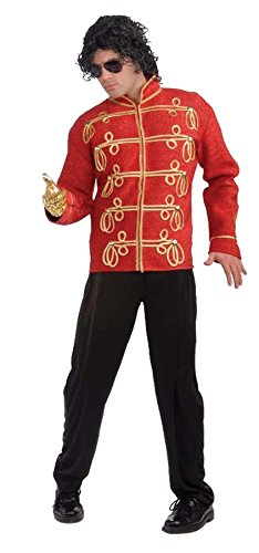 UHC Men's Michael Jackson Red Military Jacket Party Fancy Costume, Medium (38-40) -