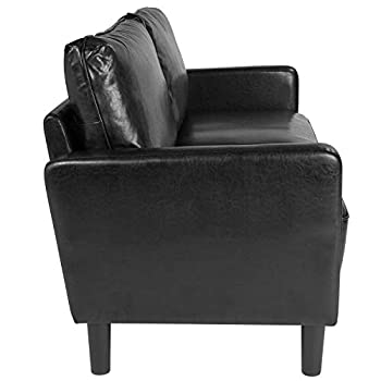 Taylor + Logan Upholstered Living Room Sofa with Straight Arms in Black Leather