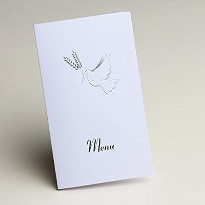 10 menus carton Communion blanc et argent motif colombe Communion Mariage bapteme