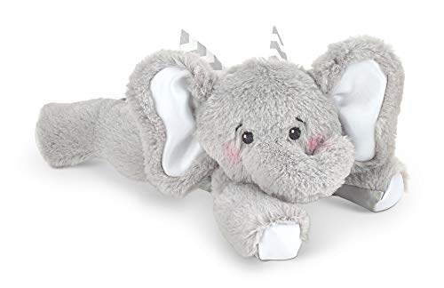 Pink Elephant Rattle - Bearington Baby Spout Plush Stuffed Animal Gray Elephant with Rattle, 8 inches