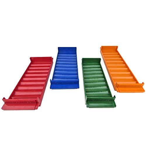 Rolled Coin Storage 4 Tray Set, Color-Coded Heavy Duty Plastic, Assorted Colors -