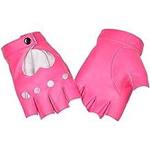 1 Pair Women Semi-finger Hip-hop PU Leather Sexy Heart Cutout Fingerless Gloves Silver