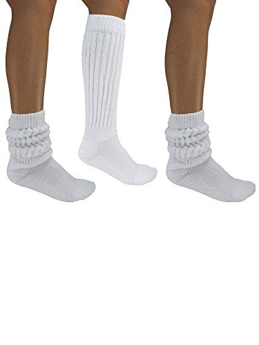 White All Cotton 3 Pack Extra Heavy Super Slouch Socks -