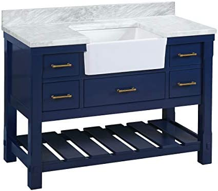 Charlotte 48-inch Bathroom Vanity Carrara Royal Blue Includes Royal Blue Cabinet with Authentic Italian Carrara Marble Countertop and White Ceramic Farmhouse Apron Sink