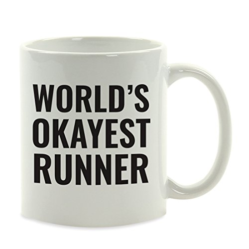 Andaz Press 11oz. Coffee Mug Gag Gift, World's Okayest Runner, 1-Pack, Funny Witty Coffee Cup Birthday Christmas Present Ideas