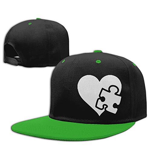 Unisex Kids Baseball Cap Autism Puzzle Piece Heart-1 Cotton Snapback Sun Hat Green