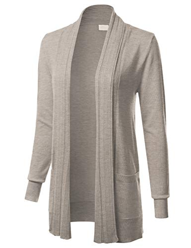 Women's Long Sleeve Open Front Drape Ribbed Cardigan with Pockets Camel - Pocket Camel Front
