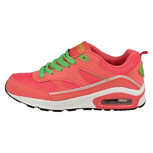 Ladies Airtech Trainer Perfect For Running Coral/Lime (Pink) yLFFoRG