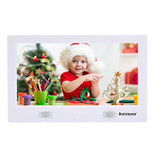 - Digital Picture Photo Frame with IPS Display High Resolution HD 1024x600(16:9) Eletronic Picture Frame with Video Player Stereo MP3 Calendar Auto On/Off Timer 10 inch-White