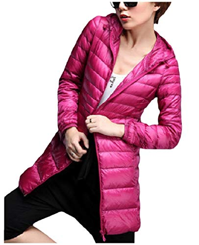 Rosa Peso Ultra Leggero Full Packable zip donne Howme Outwear Piumino Cappuccio Rossa Cqn47wvUxS