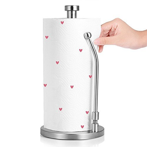 Ranaphil Stainless Steel Paper Towel Holder Stand Simply Tear Roll Tabletop Tissue Holder With Adjustable Spring Loaded Arm For Kitchen