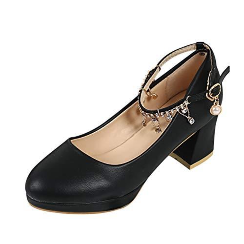 Respctful✿Women Fashion Boho Ankle Strappy Chunky Heels Dress Party Platform Pump Sandals Black ()