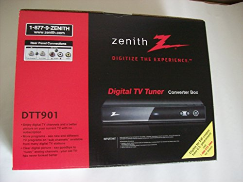 Zenith DTT901 Digital TV Tuner Converter Box with Analog (Analog Hdtv Tv)