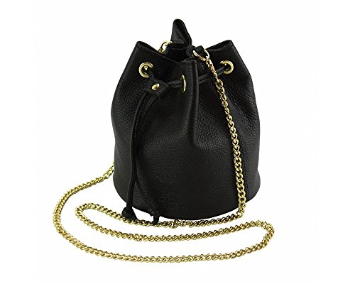 Ilaria Crossbody Handbag for Women Calfskin Genuine Italian Leather Purse w Long Shoulder Chain Strap (Link Chain Black Bag Shoulder Leather)