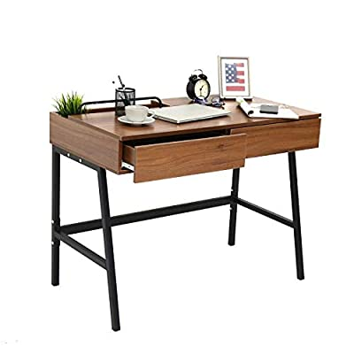 "Kinbor Computer Desk Modern Stylish 39"" Home Office Study Table Writing Desk Workstation (2-Drawers, Walnut) - -The panel made by particle wood with high glossy finish, very smooth if there is any dust/water stains, you only need to wipe it gently. -Large drawers design, enough to place your books, laptop, cosmetics, tablet. -This desk will fits other furniture on your home or office, redefine the fashion studying desk workstation. - writing-desks, living-room-furniture, living-room - 41mrRj7sWcL. SS400  -"