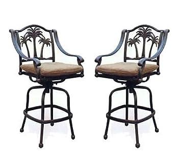 amazon com patio bar stools set of 2 swivel palm tree cast aluminum