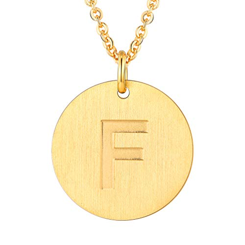 PROSTEEL Initial Letter Necklaces 18K Plated Alphabet F Personalized Men Women Jewelry Gift Minimalist Layering Layered Gold Coin Necklace