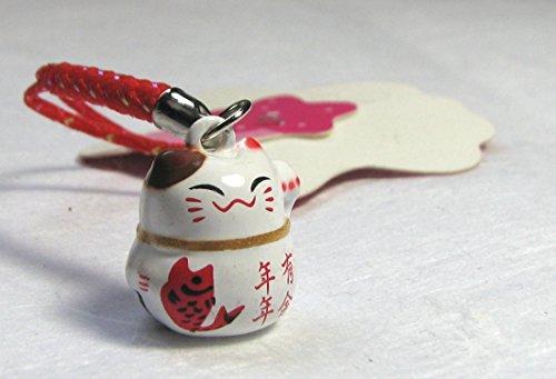 Fengshui Lucky White Maneki Neko Cat Bell 5/8