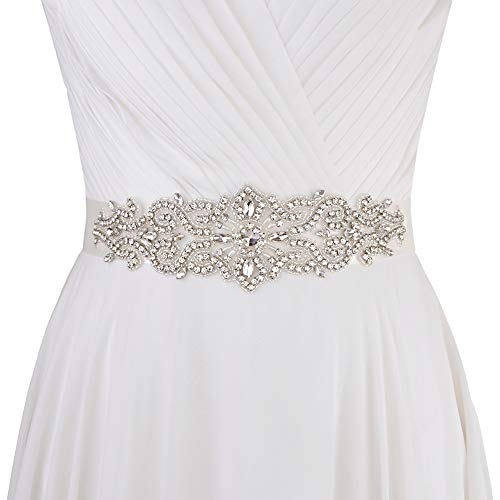 ZHENM Womens Wedding Dress Sash Belt with Ribbon Rhinestone Multi Color Bridal Belt