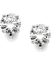 Cubic Zirconia Crystal Wedding Clip On Stud Earrings for Women, 2 Carat 8mm CZ, Platinum Plated