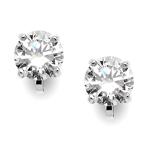 Mariell Silver Platinum-Plated 2 Carat CZ Clip-On Earrings - 8mm Round-Cut Solitaire Cubic Zirconia Studs (Non Pierced Diamond Earrings)