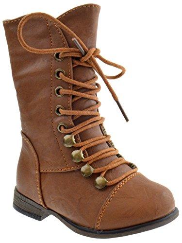 Legend-15KA Baby Girls Combat Lace Up Boots