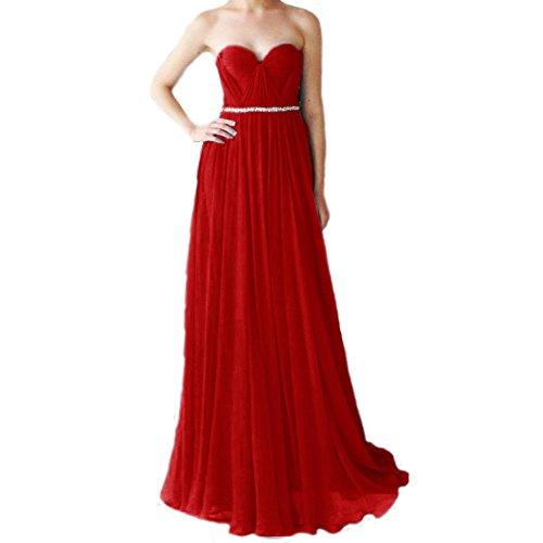 Elegant Silk Festkleider A Chiffon LuckyShe Ballkleid Rot Damen Abendkleider Lang linie 6tqwHEC