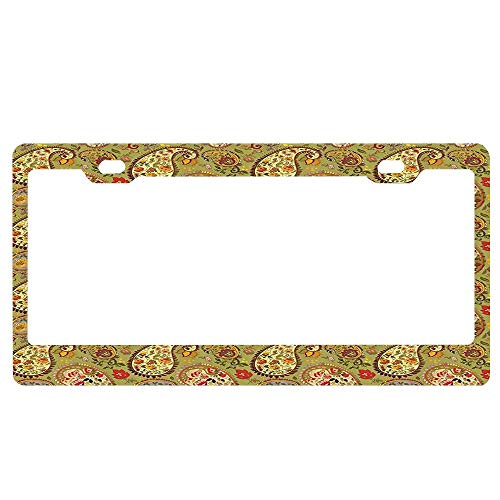 - ABLnewitemFrameFF Paisley Decor Eastern and Persian Oriental Style Tulip Floral Textile Pattern Green Red Cream and Paprika License Plate Novelty Auto Car Tag Aluminum License Plate Cover .(12x6)
