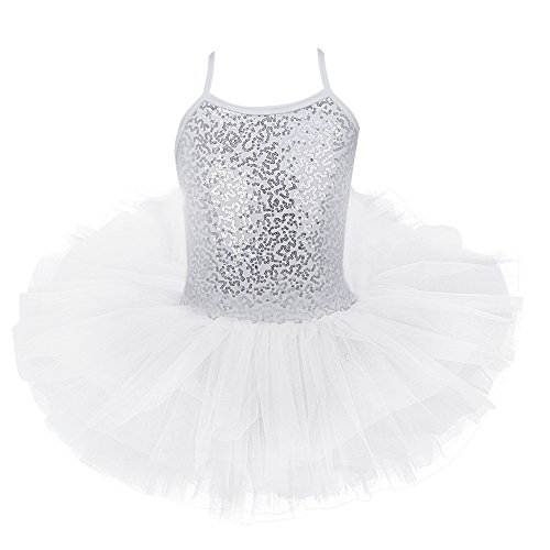 FEESHOW Girls Sequins Camisole Ballet Dress Leotard Tutu Skirt Ballerina Glittering Dance Wear Costumes White 6-7