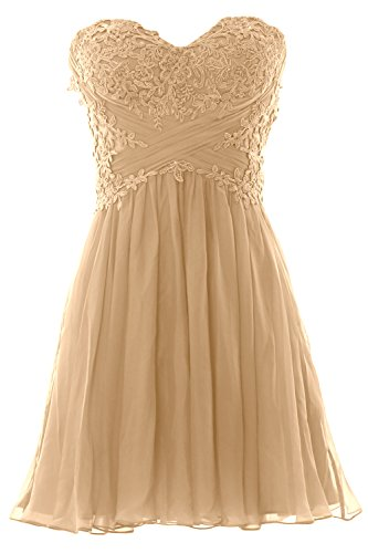 Formal Lace Prom Chiffon Cocktail MACloth Champagner Dress Women Mini Party Strapless Gown fwBBzC6xq