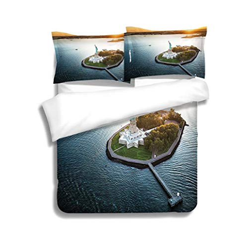 (MTSJTliangwan Family Bed Statue of Liberty Aerial View 3 Piece Bedding Set with Pillow Shams, Queen/Full, Dark Orange White Teal Coral)