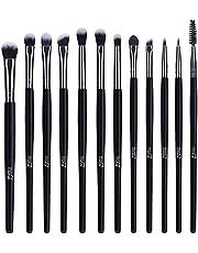 MSQ Eye Makeup Brushes 12pcs Eyeshadow Makeup Brushes Set with Soft Synthetic Hairs & Real Longer Wood Handle for Eyeshadow, Eyelash,Eyebrow, Eyeliner, Blending, Conclear(Black)