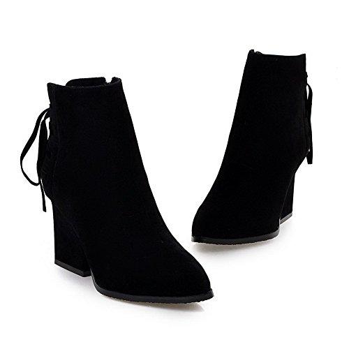 Materials Black knot AgooLar Boots Toe Blend Closed Women's w6pqIYq4P