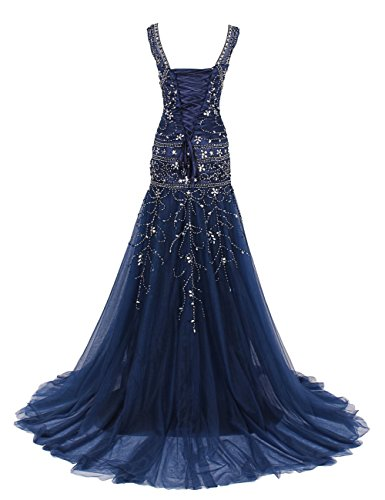 S H Mermaid Prom Blue Dress Womens Neck Dress Embroidery Royal Long V Evening D Wedding RnwF4qp