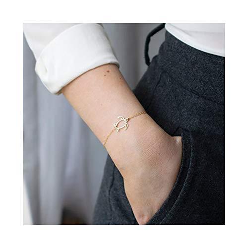 Mevecco Gold Dainty Turtle Bracelet for Women,14K Gold Plated Cute Tiny Elegant Delicate Boho Sea Tortoise Bracelet for Teen Girls 14k Gold Turtle Bracelet